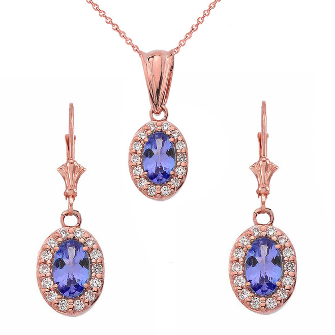 Diamond and Tanzanite Oval Pendant Necklace and Earrings Set 14K in Rose Gold