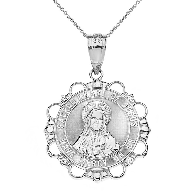 Solid White Gold Diamond Sacred Heart of Jesus Have Mercy on Us Circle Pendant Necklace
