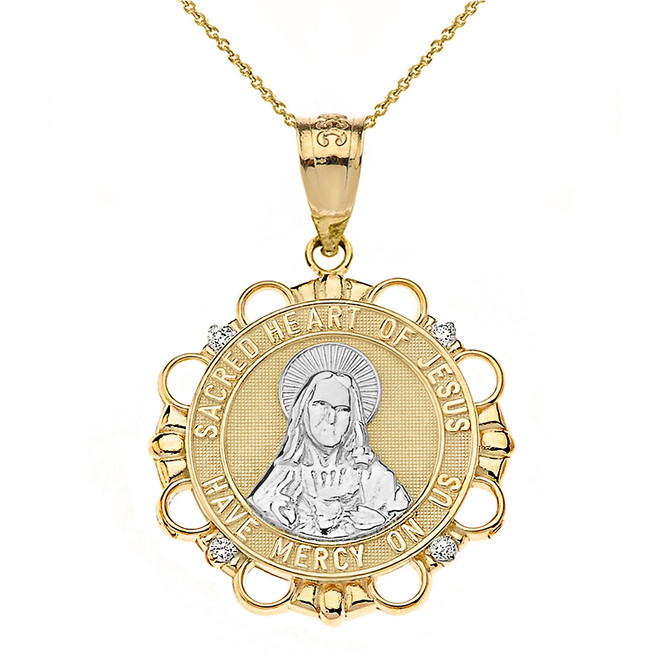 Solid Two Tone Yellow Gold Diamond Sacred Heart of Jesus Have Mercy on Us Circle Pendant Necklace
