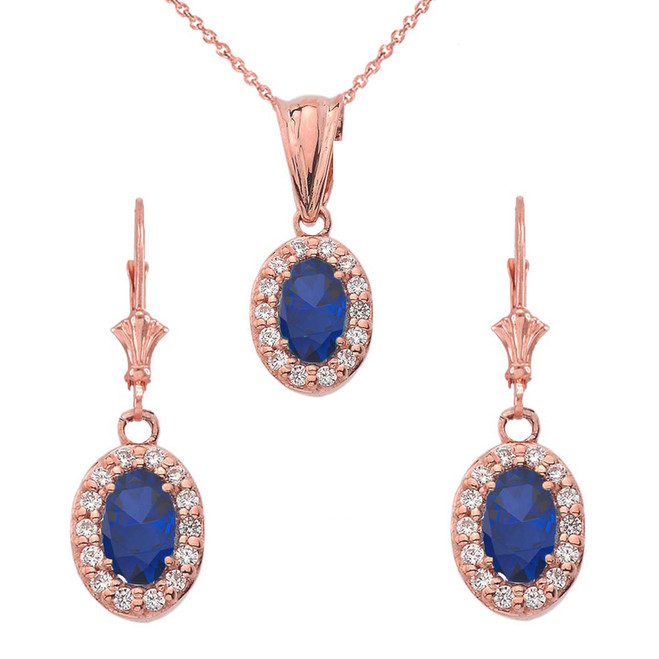 Diamond and Sapphire Oval Pendant Necklace and Earrings Set in 14K Rose Gold