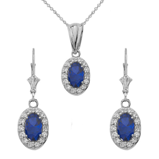 Diamond and Sapphire Oval Pendant Necklace and Earrings Set in 14K White Gold