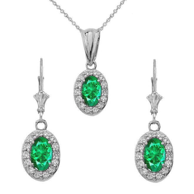 Diamond and Emerald Oval Pendant Necklace and Earrings Set in 14K White  Gold