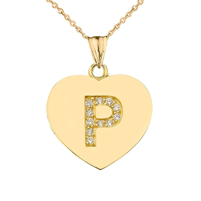 """Diamond Initial """"P"""" Heart Pendant Necklace in Yellow Gold"""