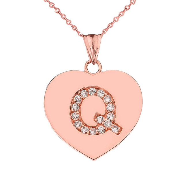 "Diamond Initial ""Q"" Heart Pendant Necklace in Rose Gold"
