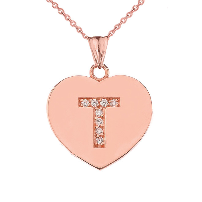 "Diamond Initial ""T"" Heart Pendant Necklace in Rose Gold"