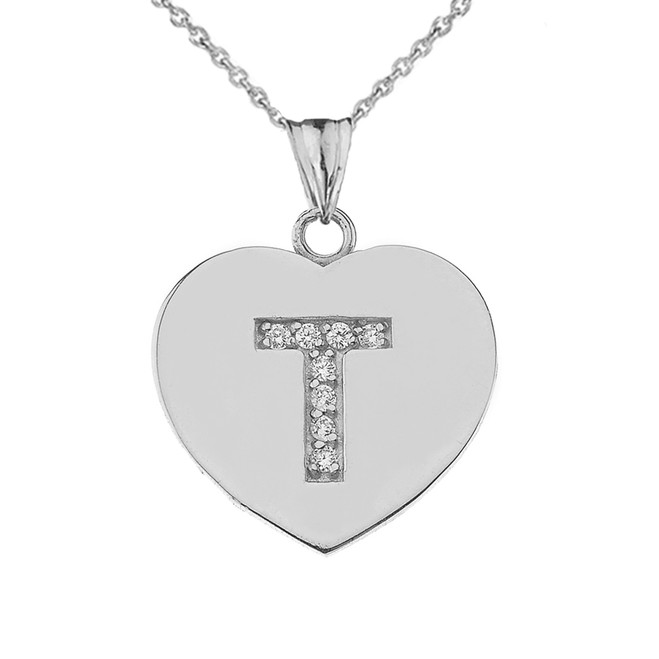 "Diamond Initial ""T"" Heart Pendant Necklace in White Gold"