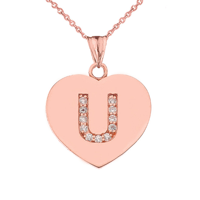 "Diamond Initial ""U"" Heart Pendant Necklace in Rose Gold"