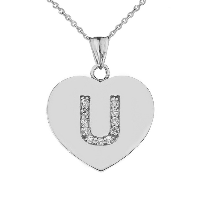 "Diamond Initial ""U"" Heart Pendant Necklace in White Gold"
