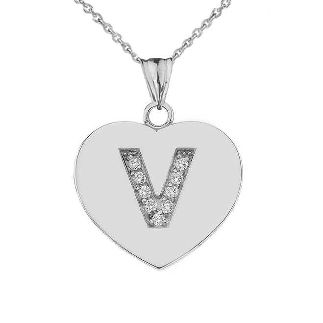 "Diamond Initial ""V"" Heart Pendant Necklace in Sterling Silver"