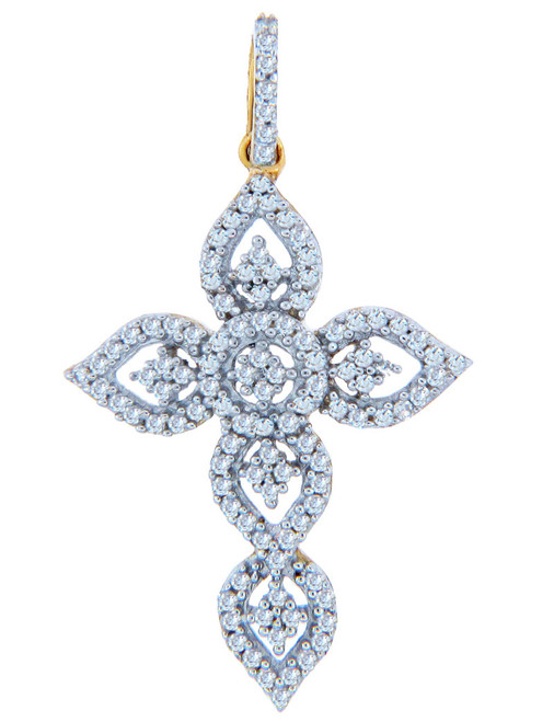 Fancy Gold Cross Diamond Pendant