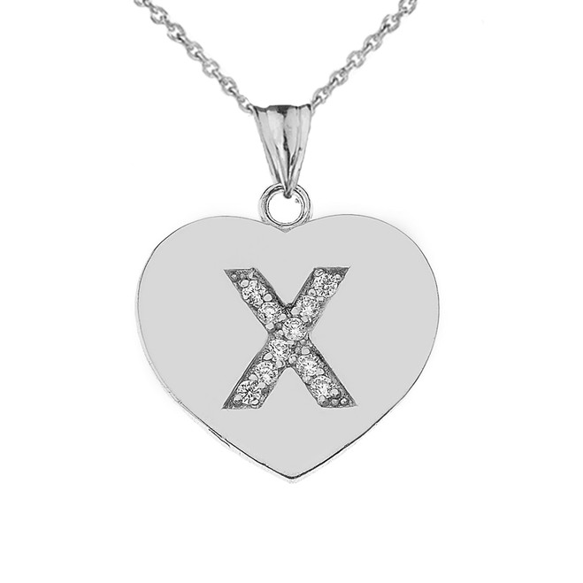 "Diamond Initial ""X"" Heart Pendant Necklace in White Gold"