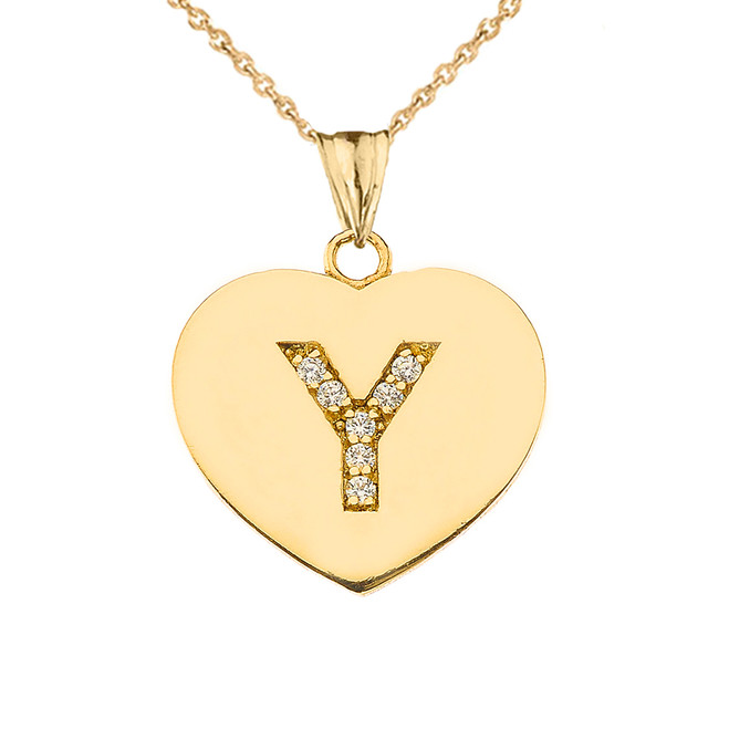 """Diamond Initial """"Y"""" Heart Pendant Necklace in Yellow Gold"""