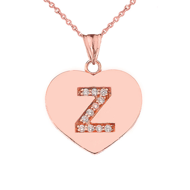 "Diamond Initial ""Z"" Heart Pendant Necklace in Rose Gold"