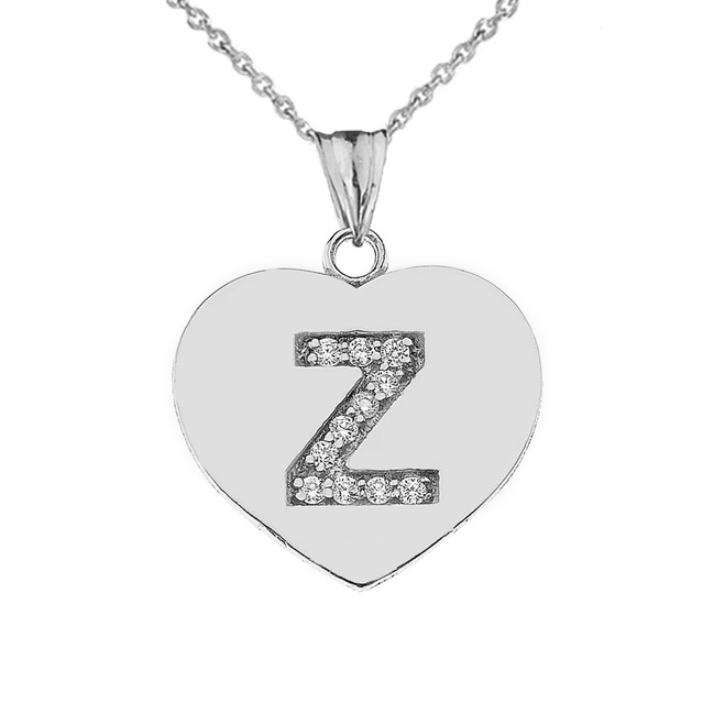 "Diamond Initial ""Z"" Heart Pendant Necklace in Sterling Silver"
