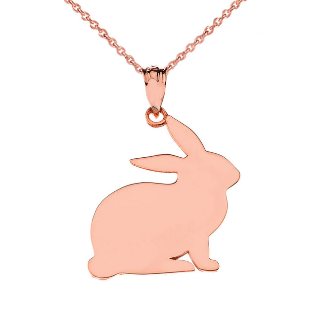 High Polished Bunny Pendant Necklace in Rose Gold