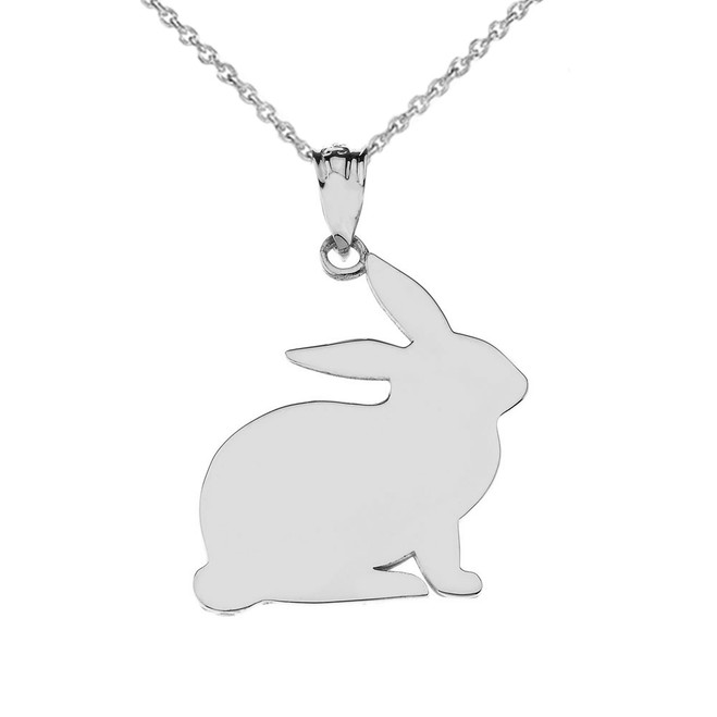 High Polished Bunny Pendant Necklace in White Gold