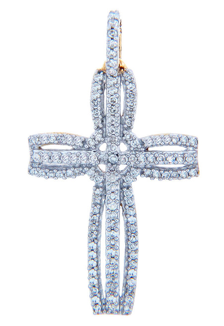 Fancy Openwork Gold Cross Diamond Pendant
