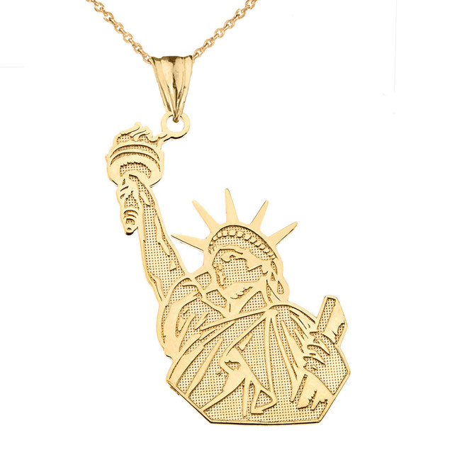 Detailed Statue of Liberty Pendant Necklace in Yellow Gold