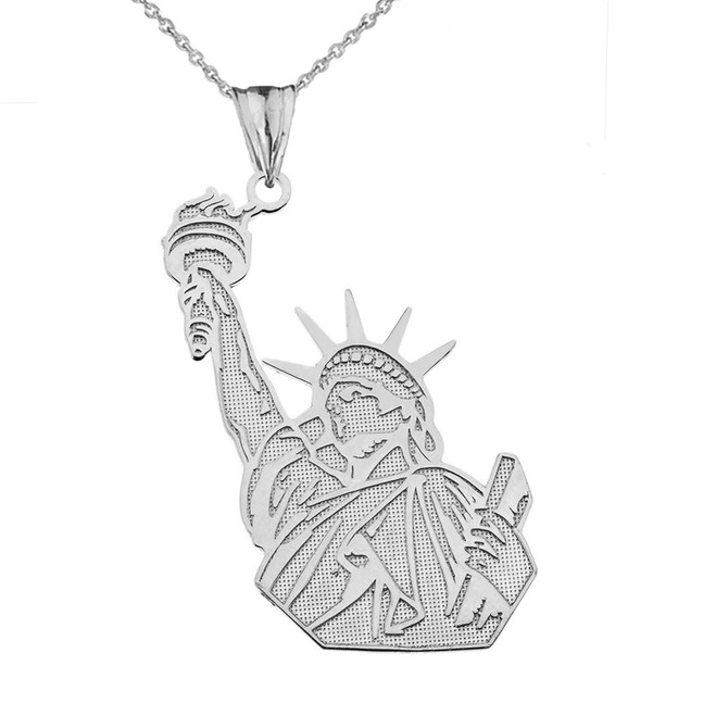Detailed Statue of Liberty Pendant Necklace in White Gold
