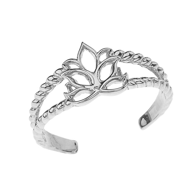 Lotus Flower Rope Toe Ring in Sterling Silver