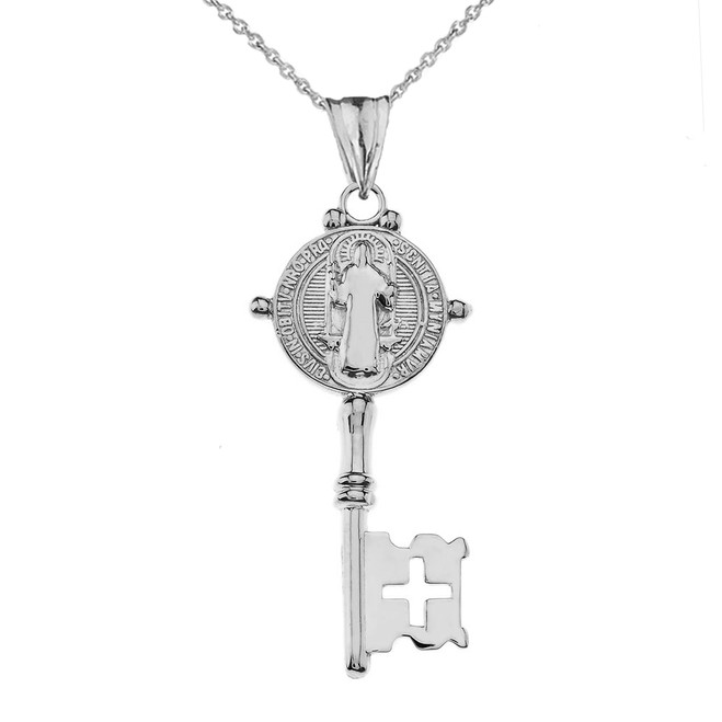 Saint Benedict Double Sided Cross Key Pendant Necklace in White Gold