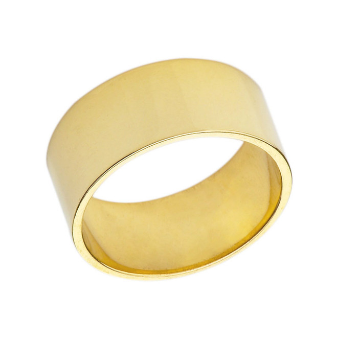 Solid Yellow Gold 10 mm Flat Wedding Band