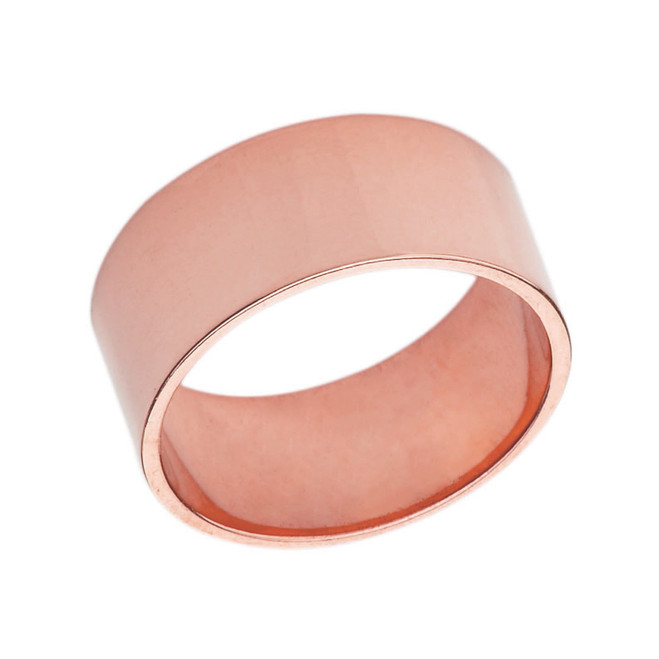Solid Rose Gold 10 mm Flat Wedding Band