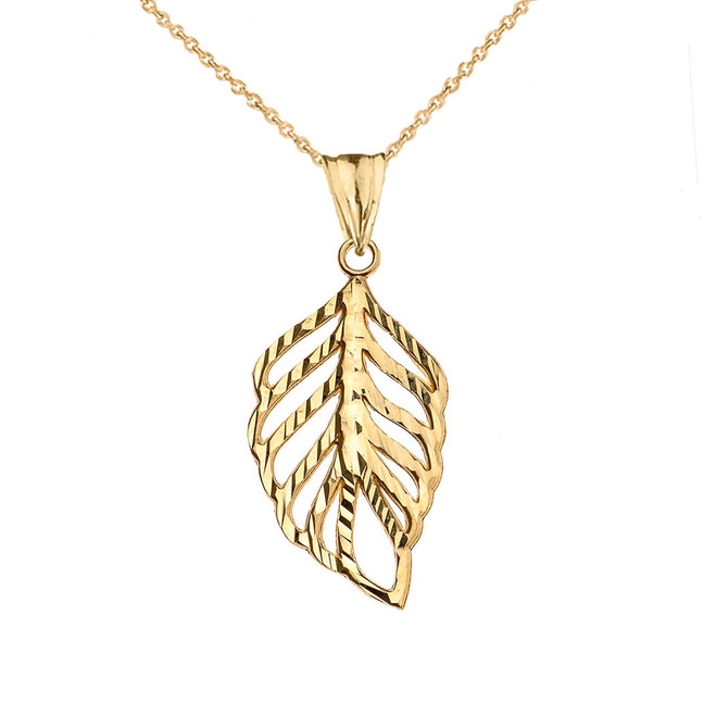 Designer Sparkle Cut Leaf Pendant Necklace in Yellow Gold