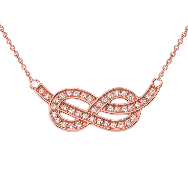 14K Infinity Knot Pendant Necklace in Rose Gold