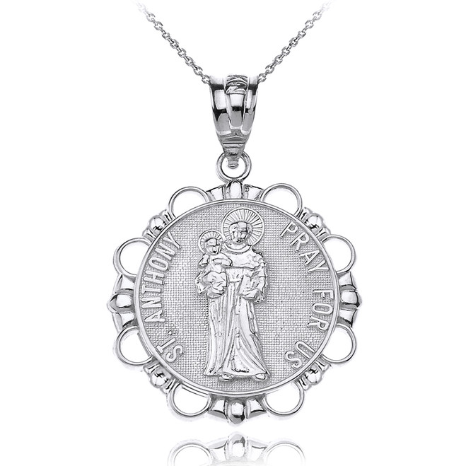 Solid White Gold Saint Anthony Pray For Us Circle Pendant Necklace