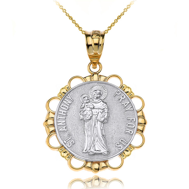 Solid Two Tone Yellow Gold Saint Anthony Pray For Us Circle Pendant Necklace