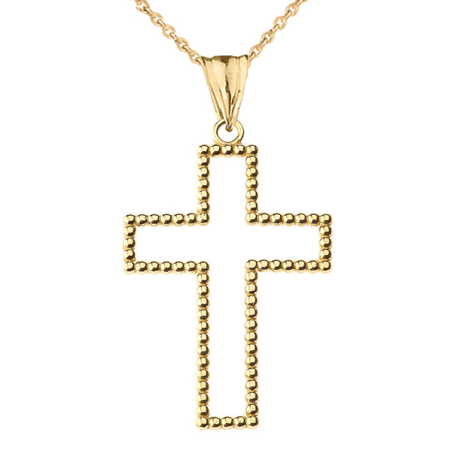 "Two Sided Beaded Open Cross Pendant Necklace in Yellow Gold (1.5"")"