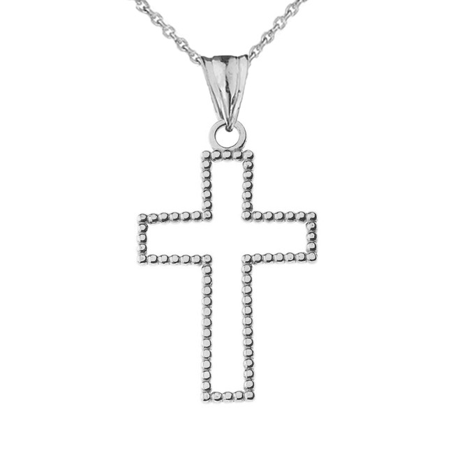 """Two Sided Beaded Open Cross Pendant Necklace in White Gold (1.2"""")"""