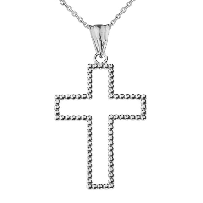 "Two Sided Beaded Open Cross Pendant Necklace in Sterling Silver (1.5"") LG"
