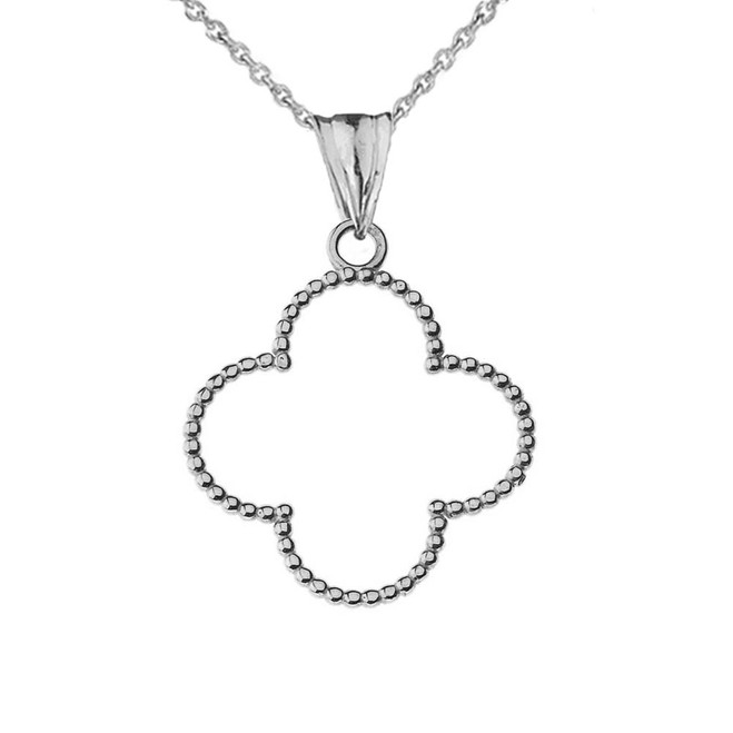 "Beaded Open Clover Pendant Necklace in White Gold (1.0"") SM"