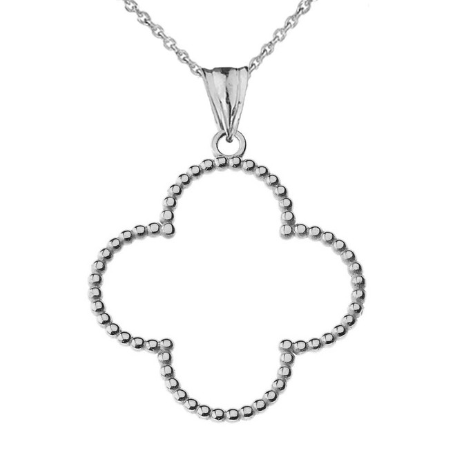 "Beaded Open Clover Pendant Necklace in White Gold (1.3"") LG"