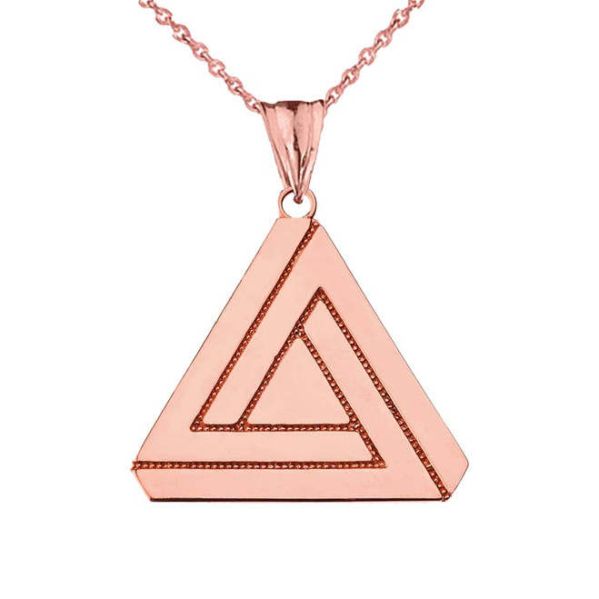 The Impossible (Penrose) Triangle Pendant Necklace in Rose Gold