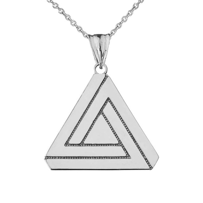 The Impossible (Penrose) Triangle Pendant Necklace in White Gold
