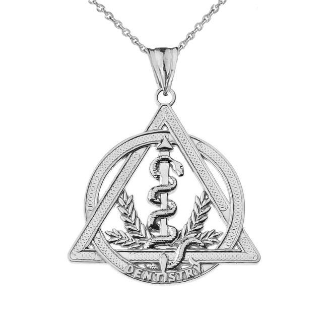 Dentistry Symbol Pendant Necklace in White Gold