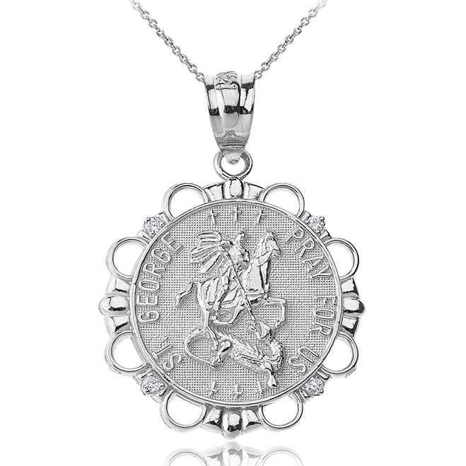 Solid White Gold Diamond Saint George Pray For Us  Circle Pendant Necklace