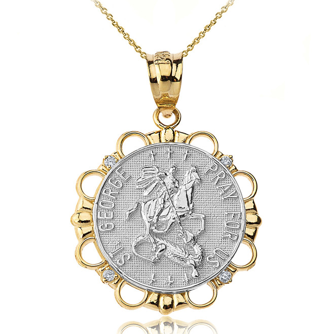 Solid Two Tone Yellow Gold Diamond Saint George Pray For Us  Circle Pendant Necklace