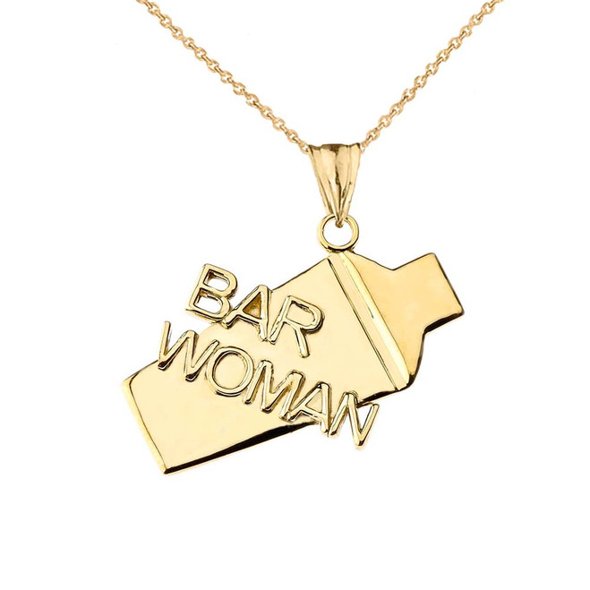 Cocktail Shaker Bar Woman Pendant Necklace in Yellow Gold