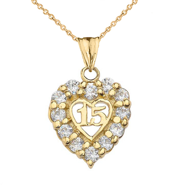 """15 Años"" Quinceañera Heart Pendant Necklace in Yellow Gold"