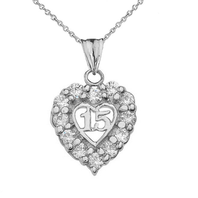 """15 Años"" Quinceañera Heart Pendant Necklace in White Gold"
