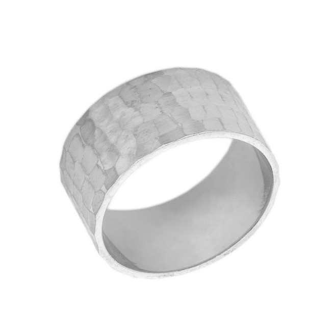 Solid White Gold Hammered 10 Millimeter Wedding Band