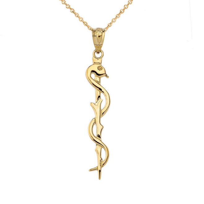 Asclepius Medicine Symbol Pendant Necklace in Yellow Gold