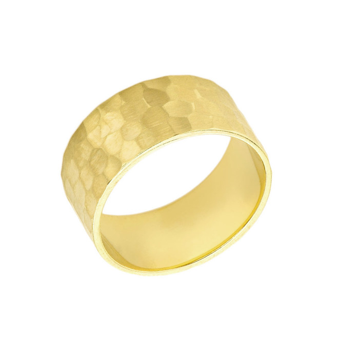 Solid Yellow Gold Hammered 9 Millimeter Wedding Band