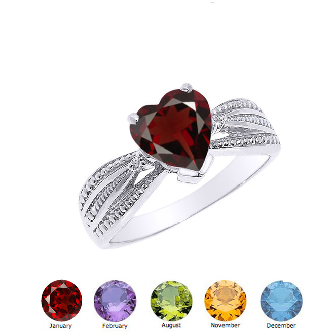 Genuine Diamond and Heart shaped Personalized Genuine Birthstone Ring  in Sterling Silver