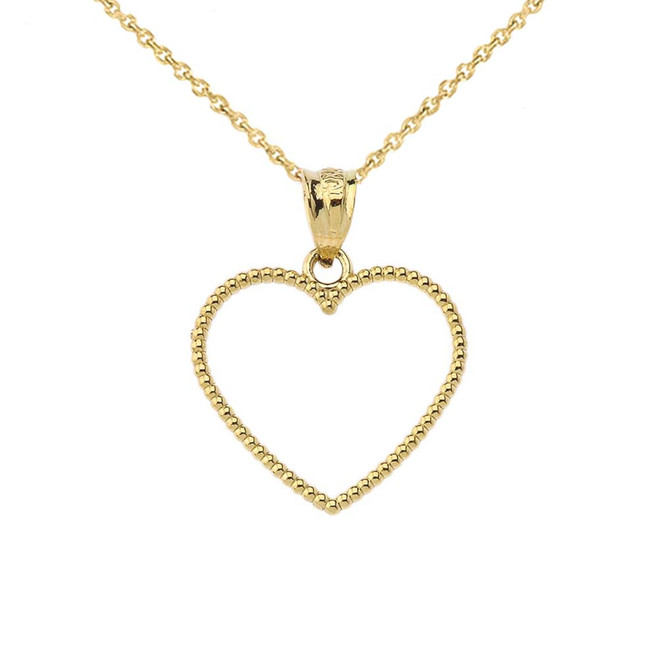 "Two Sided Beaded Open Heart Pendant Necklace in Yellow Gold (0.9"")"