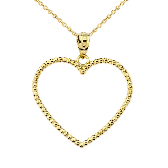 "Two Sided Beaded Open Heart Pendant Necklace in Yellow Gold (1.1"")"